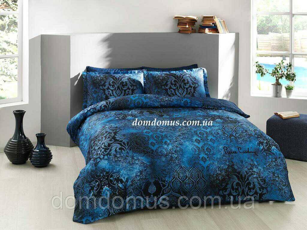 Комплект постельное белье Евро  (сатин), Pierre Cardin, Турция, синий