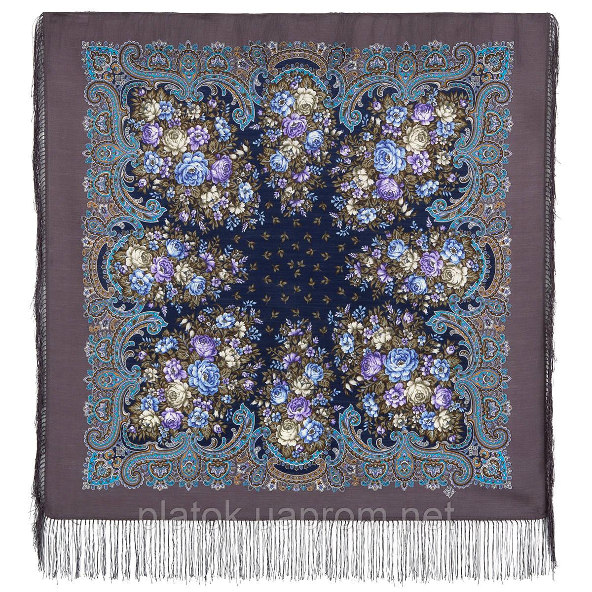 Душистый луг 1830-1, павлопосадский платок шерстяной  с шелковой бахромой
