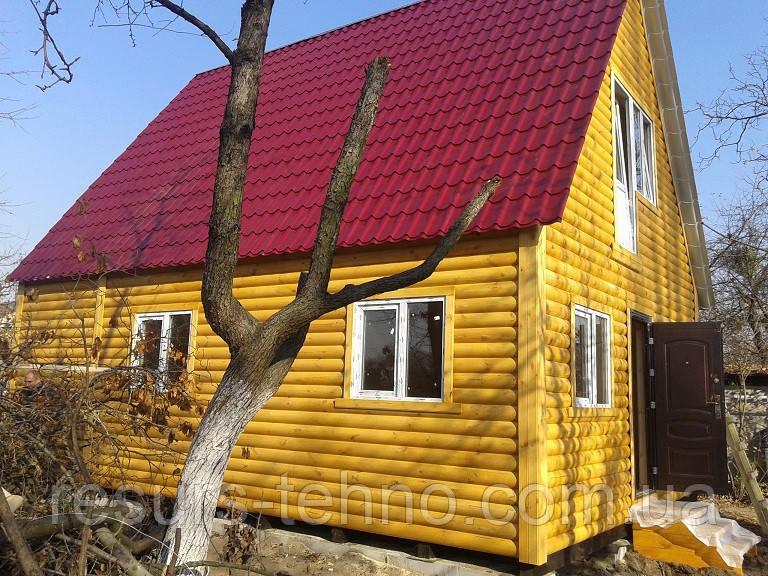 Дачний будиночок 8м х 6м з блокхаус з мансардою