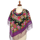 Город роз 1825-8, павлопосадский платок шерстяной  с шелковой бахромой, фото 2