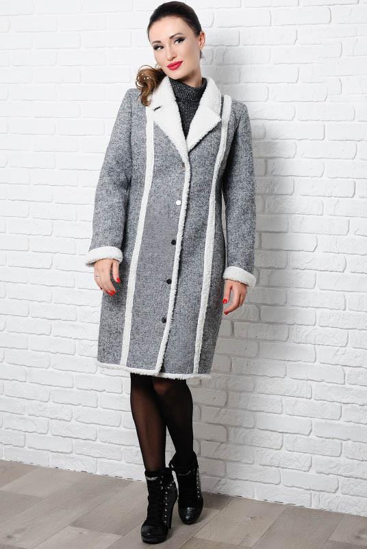 Модное пальто на овчине  Дореми серый