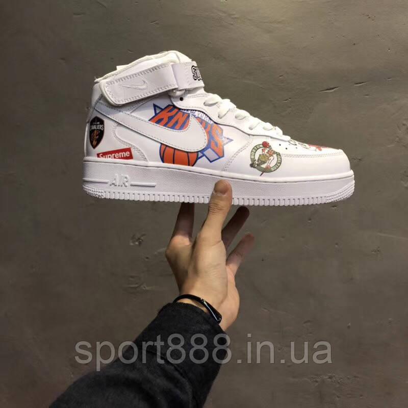 c7811224 Топ качество Nike Air Force 1 Mid Supreme NBA White кроссовки мужские  женские - sport888 в