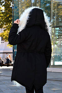 Зимняя женская куртка черная парка на меху (белая лама)