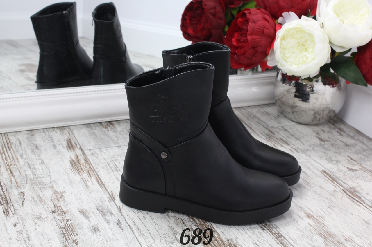 Ботинки зимние Fashion boots сбоку молния черные