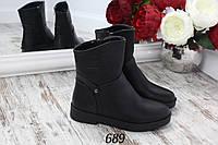 Ботинки зимние Fashion boots сбоку молния черные, фото 1