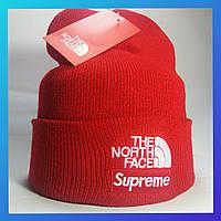 Шапка The North Face красная с отворотом (TNF норд фейс)