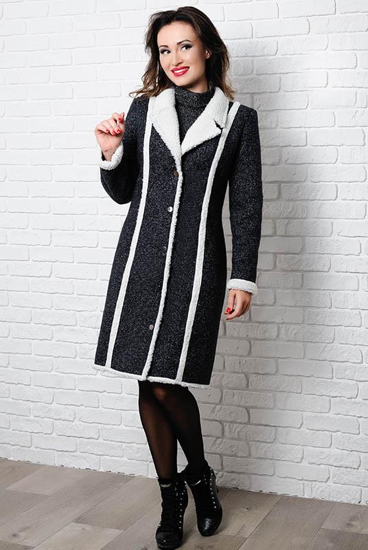Чорне пальто на овчині - Дореми -