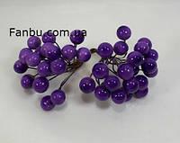 Искусственные блестящие ягоды для декора фиолетовые d=1 см (1 упаковка - 40 ягодок), фото 1