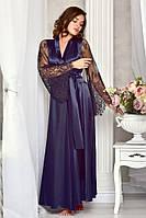 Длинный женский халат из атласа с кружевным рукавом Синий. Размеры от XS до XL
