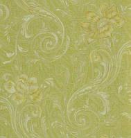 Обои на стену, акриловые на бумажной основе, зелёные с цветами 420-10, 0,53х10м