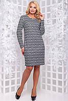 Принтована трикотажне плаття з довгим рукавом великого розміру 50-56 чорне, фото 1