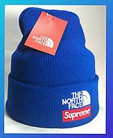 Шапка The North Face синяя с отворотом (TNF норд фейс)