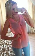 Блузка шифоновая без рукавов персик 076, фото 1