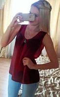 Блузка шифоновая без рукавов бордо 076, фото 1