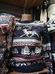 Стильный молодежный вязанный свитер с зимним орнаментом, 44-46