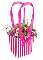 """Бумажная сумка для цветов """"Полоса"""" (13 см) розовая"""