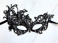 Чёрная кружевная маска для лица