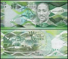 Barbados Барбадос - 5 Dollars 2013 Pick 74 UNC