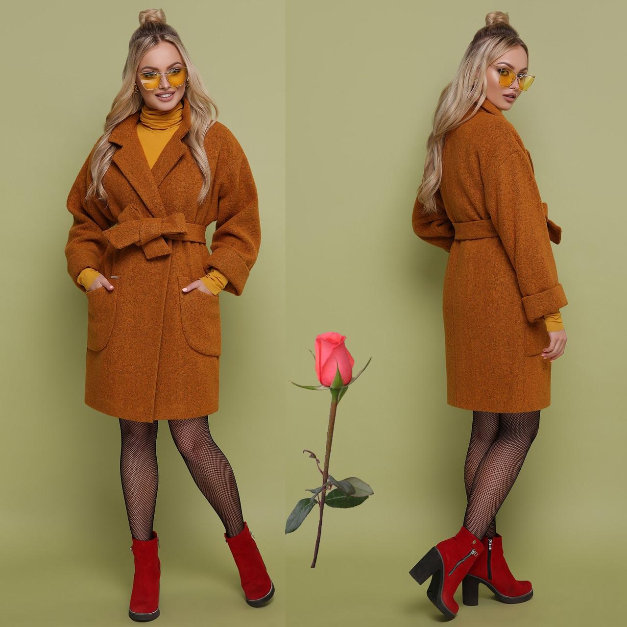 Осенне-весеннее женское  пальто   из альпаки  GL 77301  Горчица