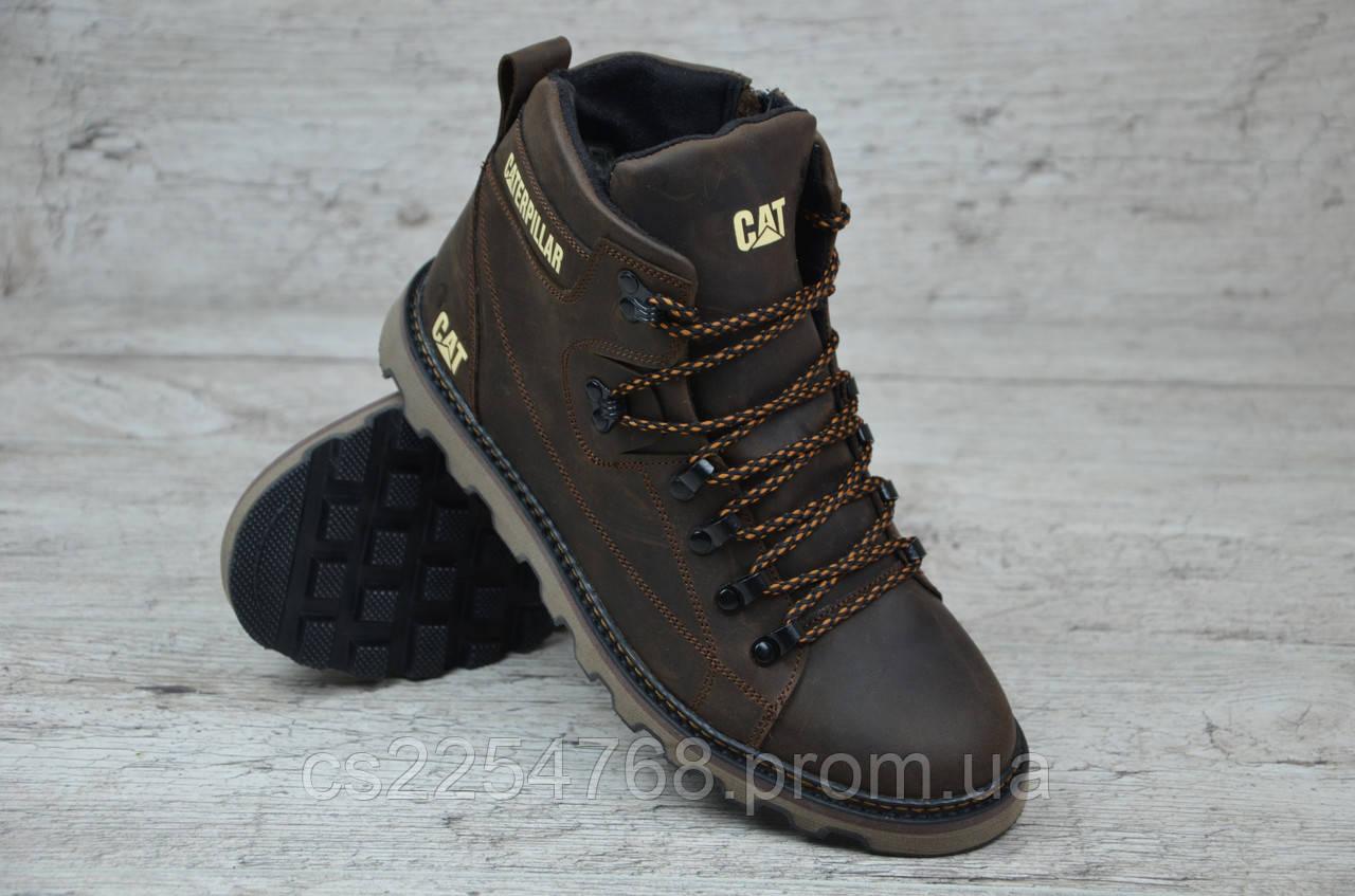 8aab45b7 Ботинки Мужские Кожаные в Стиле CAT Коричневые — в Категории ...