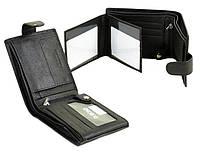 Кошелек мужской кожаный Dr. Bond M8-1 черный три отдела откидная визитница на 8 карт 12х9х3см, фото 1