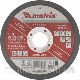Круг відрізний по металу, 115 х 1,2 х 22 мм MTX