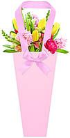 Бумажная сумка для букетов и горшечных цветов, розовая