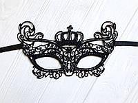 """Чёрная кружевная маска для лица """"Корона"""""""