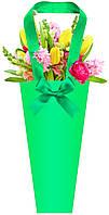 Бумажная сумка для букетов и горшечных цветов, зеленая
