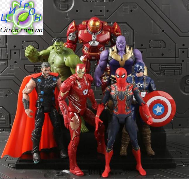 Набор Марвел Супергерои 7 шт. 17см. Мешок в ПОДАРОК Мстители  Халк Тор Капитан Америка Спайдермен Танос