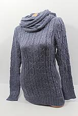 Вязаные женские свитера с шарфом снудом O-U 602, фото 2