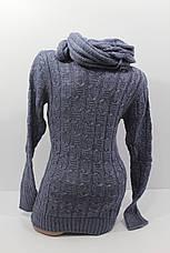 Вязаные женские свитера с шарфом снудом O-U 602, фото 3