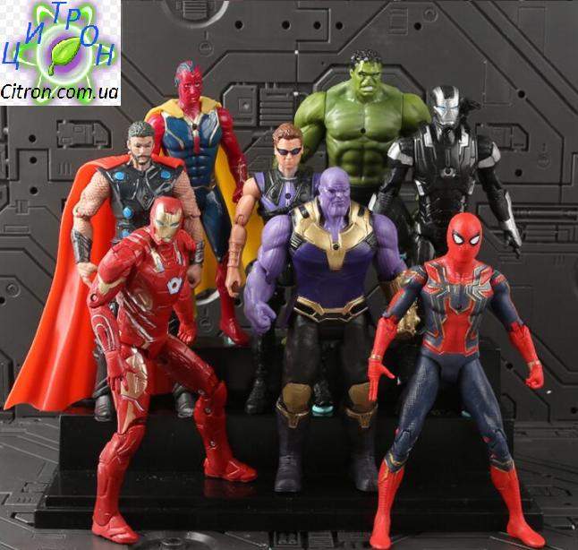 Набор Марвел Супергерои 8 шт. 17 см. Мстители  Халк Тор Капитан Америка Спайдермен Железный человек Танос