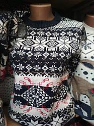 Стильный вязанный молодежный свитер с орнаментом зима, 44-46