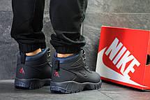 Зимние мужские кроссовки Nike Lunarridge,темно синие,на меху, фото 2
