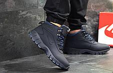 Зимние мужские кроссовки Nike Lunarridge,темно синие,на меху, фото 3