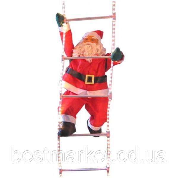 Новогодняя Игрушка Подвесной Санта Клаус с Мешком Лезет по Светящейся Led Лестнице 60 см (2525)