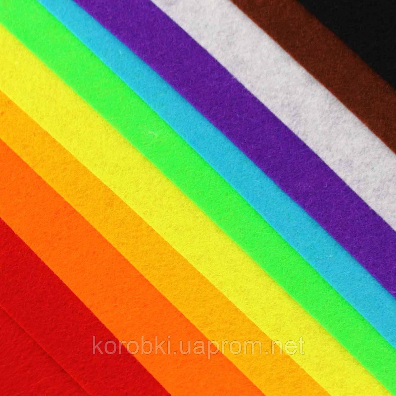 Фетр однотонный, МИКС 10 ЦВЕТОВ, 1824243-1 (70*50 см, толщина 1 мм, 10 листов в упаковке)