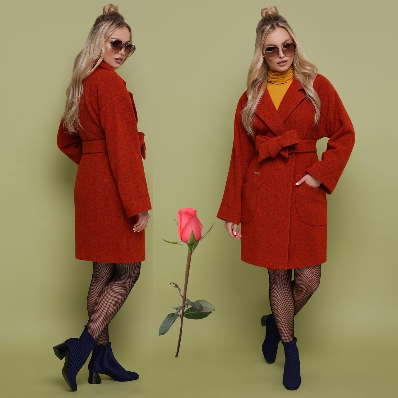 Осенне-весеннее женское  пальто   из альпаки  GL 77301  Терракот