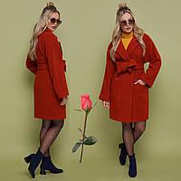 Осенне-весеннее женское  пальто   из альпаки  GL 77301  Терракот, фото 1