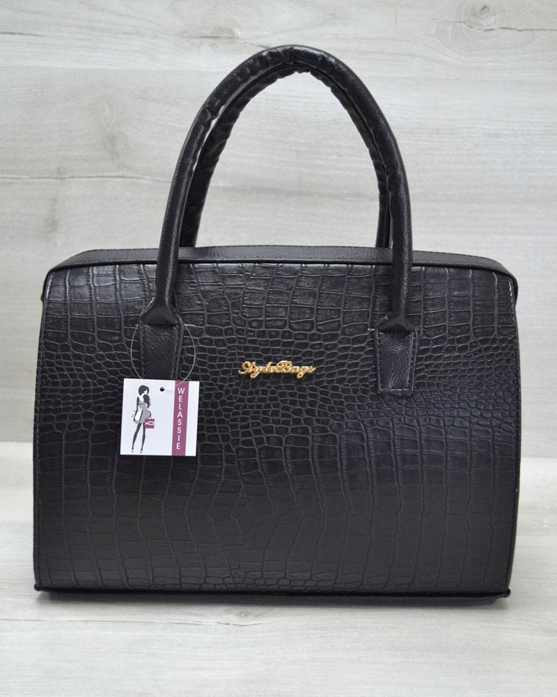 Каркасная женская сумка WeLassie Саквояж черный крокодил (31120)