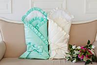 Конверт-одеяло на выписку с французским кружевом, молочный