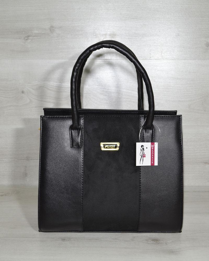 Женская сумка WeLassie Бочонок черного цвета с замшевой вставкой (31609)
