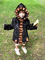 Шуба детская из меха нутрии с отделкой из норки 55 см. Для детей 3-5 лет., фото 1