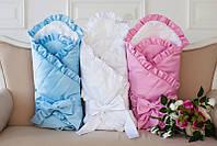Зимний конверт-одеяло на выписку с французским кружевом, белый