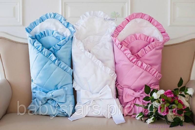 Зимний конверт-одеяло на выписку с французским кружевом, голубой