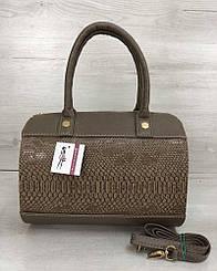 Женская сумка WeLassie Маленький Саквояж кофейного цвета со вставкой кофейная рептилия (32002)