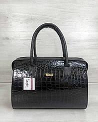 Каркасная женская сумка WeLassie Саквояж черный лаковый крокодил (31135)