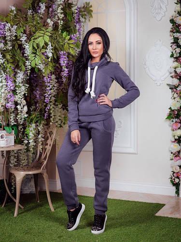 Теплый женский спортивный костюм с начесом, кофта с капюшоном, штаны с  манжетами, батал 1e90c3eb533