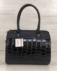 Женская сумка WeLassie Маленький Саквояж черный лаковый крокодил (32006)